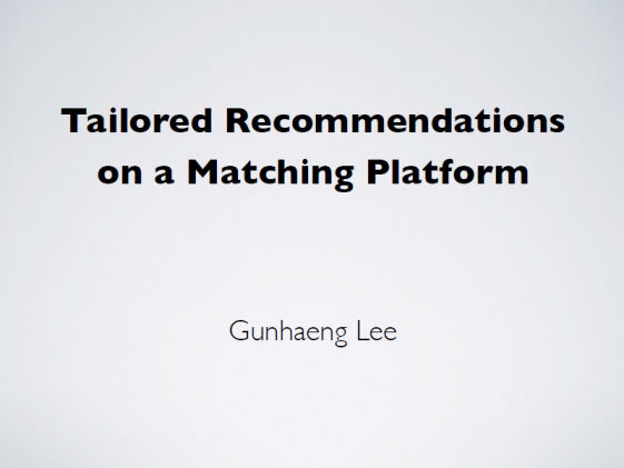 [Research Colloquium] Tailored Recommendations On A Platform