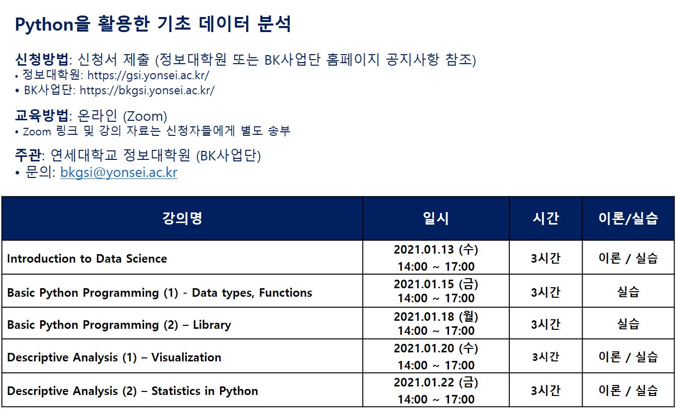 [연세대학교 정보대학원] Python 프로그래밍 교육 안내